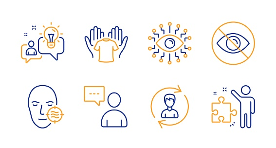 Hold t-shirt, Users chat and Idea icons set. Problem skin, Human resources and Not looking signs. Vector