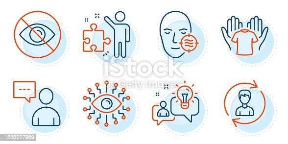 istock Hold t-shirt, Users chat and Idea icons set. Problem skin, Human resources and Not looking signs. Vector 1253227989