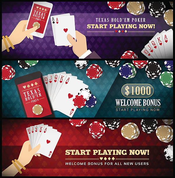 Hold'em poker banner set Hold'em poker banner set with smartphone, full scale, chips and male and female hands cartable stock illustrations