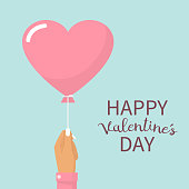 Happy Valentine's Day card. A girl holding a balloon in the form of heart. Vector illustration flat design. Isolated on white background. Pink heart on the rope.
