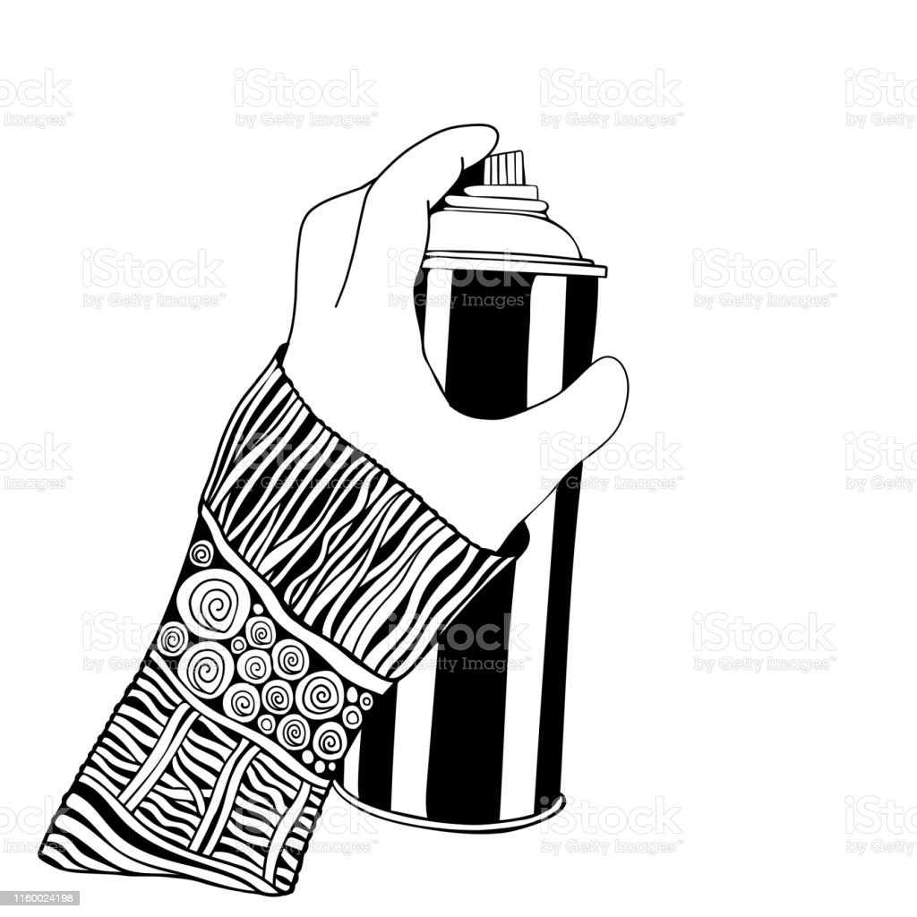 Holding a Can of Spray Paint. Isolated. Black and white. Doodle...
