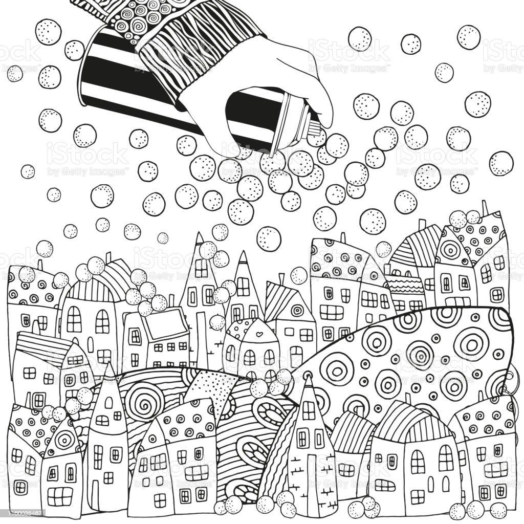 Bir Can Sprey Boya Tutarak Evler Ve Kar Ile Kis Noel Deseni