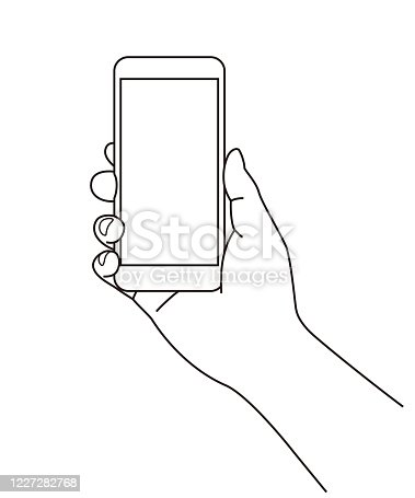 istock Holding a cell phone (mobile phone) at hand, line illustration 1227282768