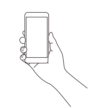 Holding a cell phone (mobile phone) at hand, line illustration