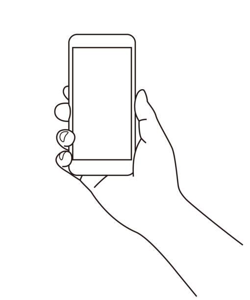 trzymanie telefonu komórkowego (telefonu komórkowego) pod ręką, ilustracja liniowa - ręka człowieka stock illustrations