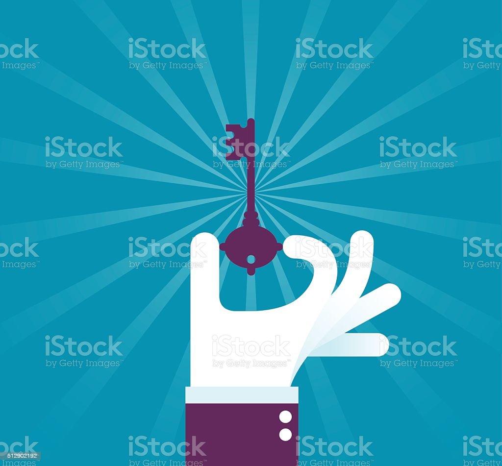 Holding a Key vector art illustration