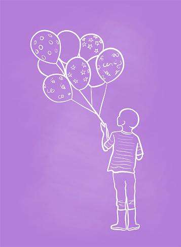 Holding Birthday Ballons Chalkboard