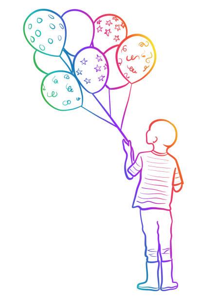 Halten Geburtstag Ballons Regenbogen – Vektorgrafik