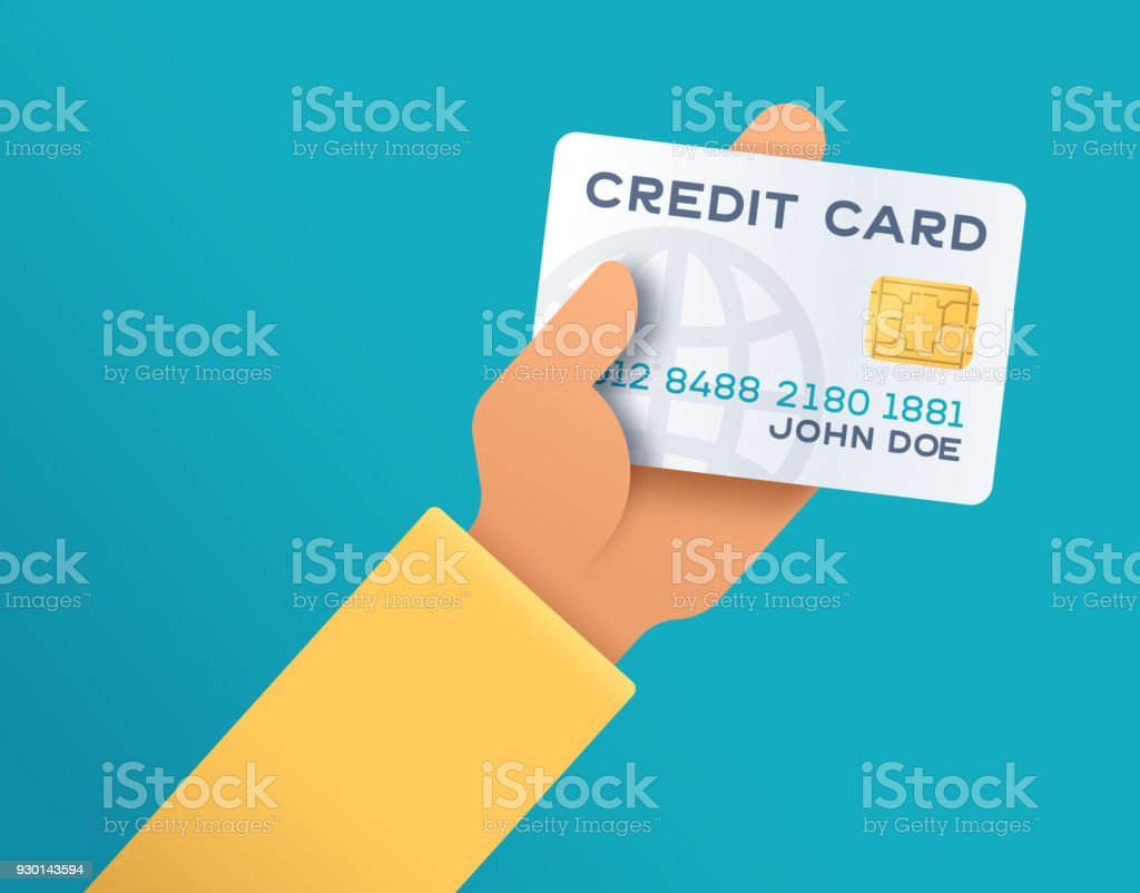 Holding Credit Card vector art illustration