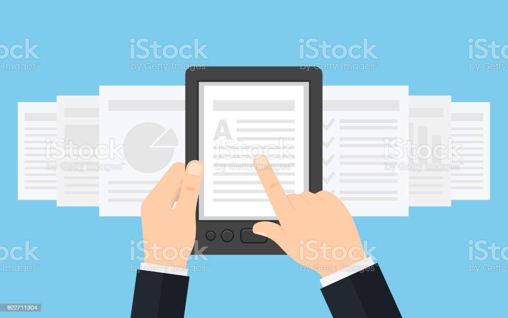 Segurando o leitor de E-book em mãos. - Vetor de Biblioteca royalty-free
