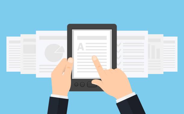 Holding E-book reader in hands. Holding Ebook reader in hands. Using e-book, vector illustration e reader stock illustrations