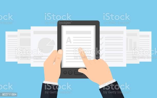 Vetores de Segurando O Leitor De Ebook Em Mãos e mais imagens de Biblioteca
