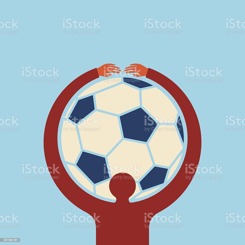 holding football man royalty-free stock vector art