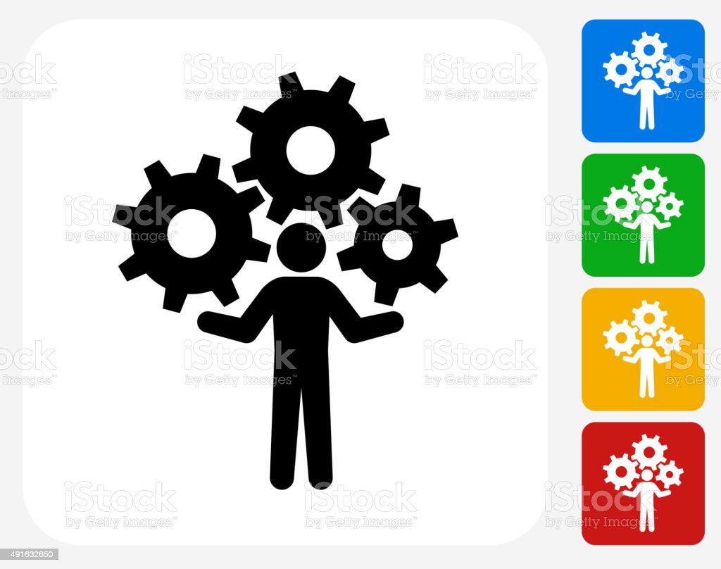 Holding Gears Icon Flat Graphic Design vector art illustration