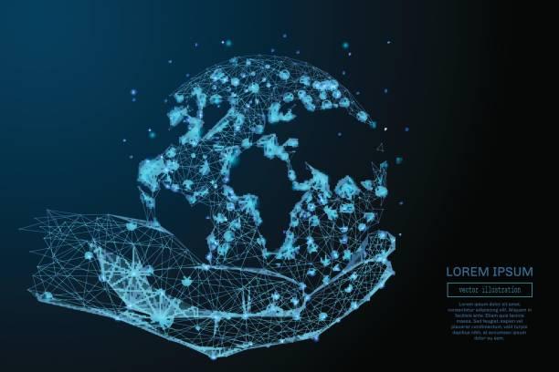 blaue halten global in Händen – Vektorgrafik