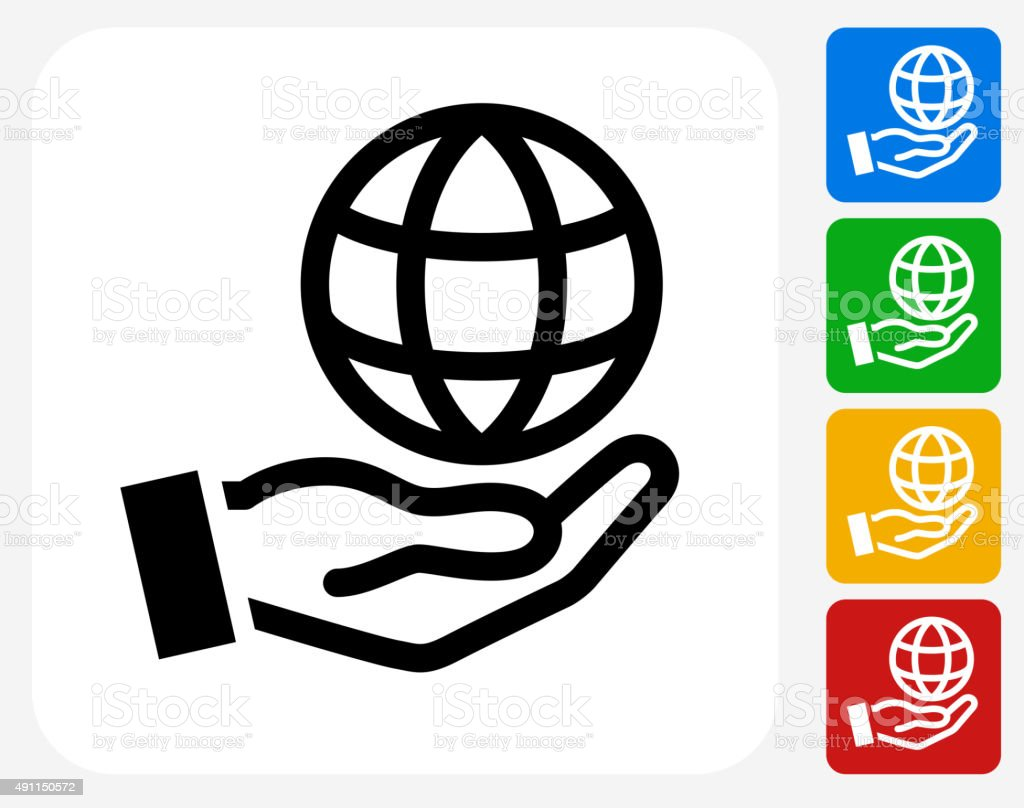 Holding Globe Icon Flat Graphic Design vector art illustration