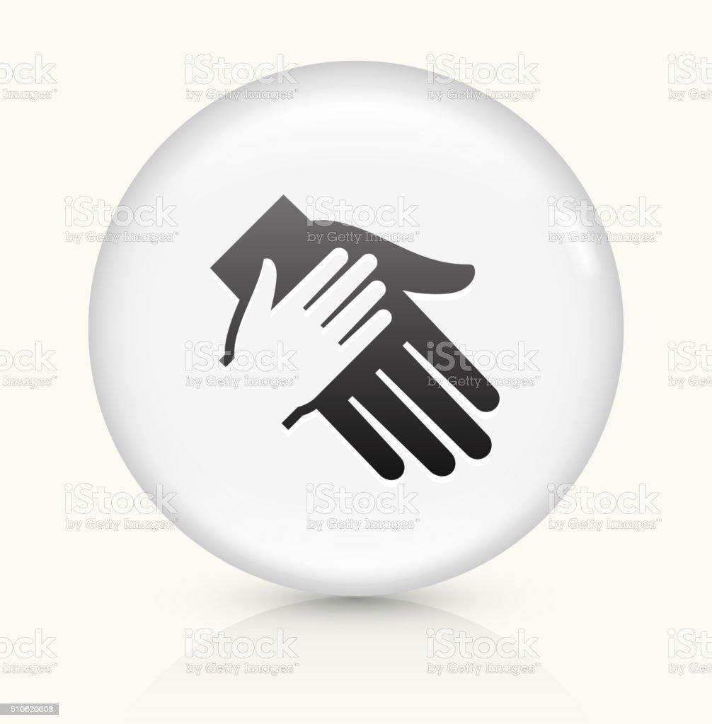 Main tenant une icône sur blanc vecteur rond bouton - Illustration vectorielle