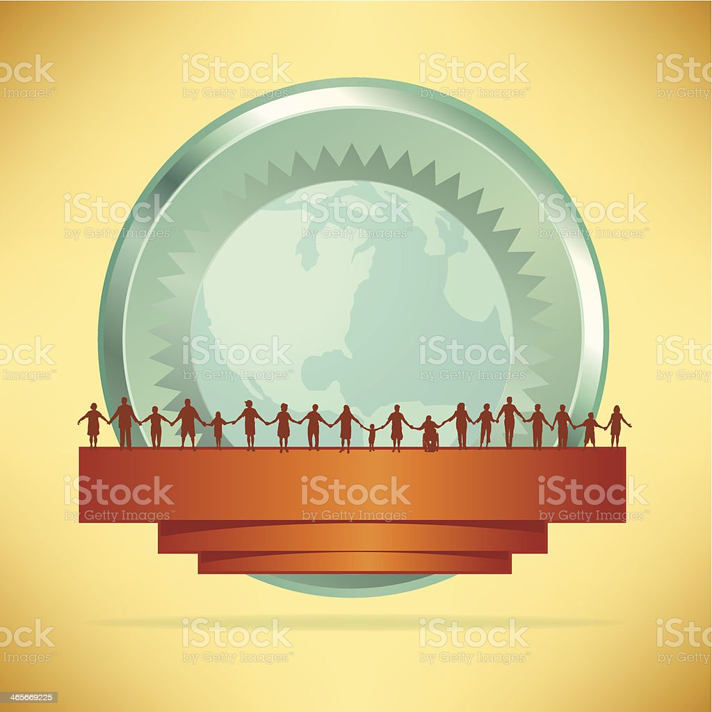 Holding Hands - Banner with World Background royalty-free stock vector art