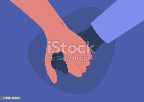 istock Holding hands, interracial couple, friendship and support, empathy 1208918691