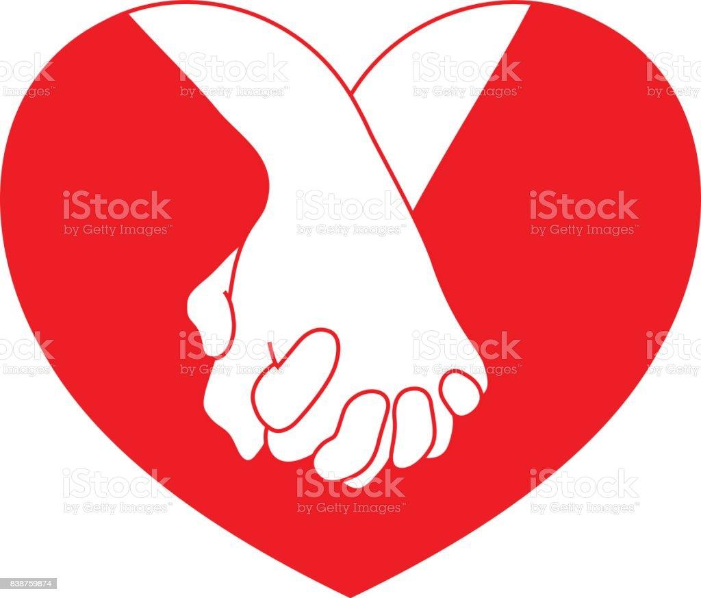Manos sosteniendo el corazón rojo. - ilustración de arte vectorial