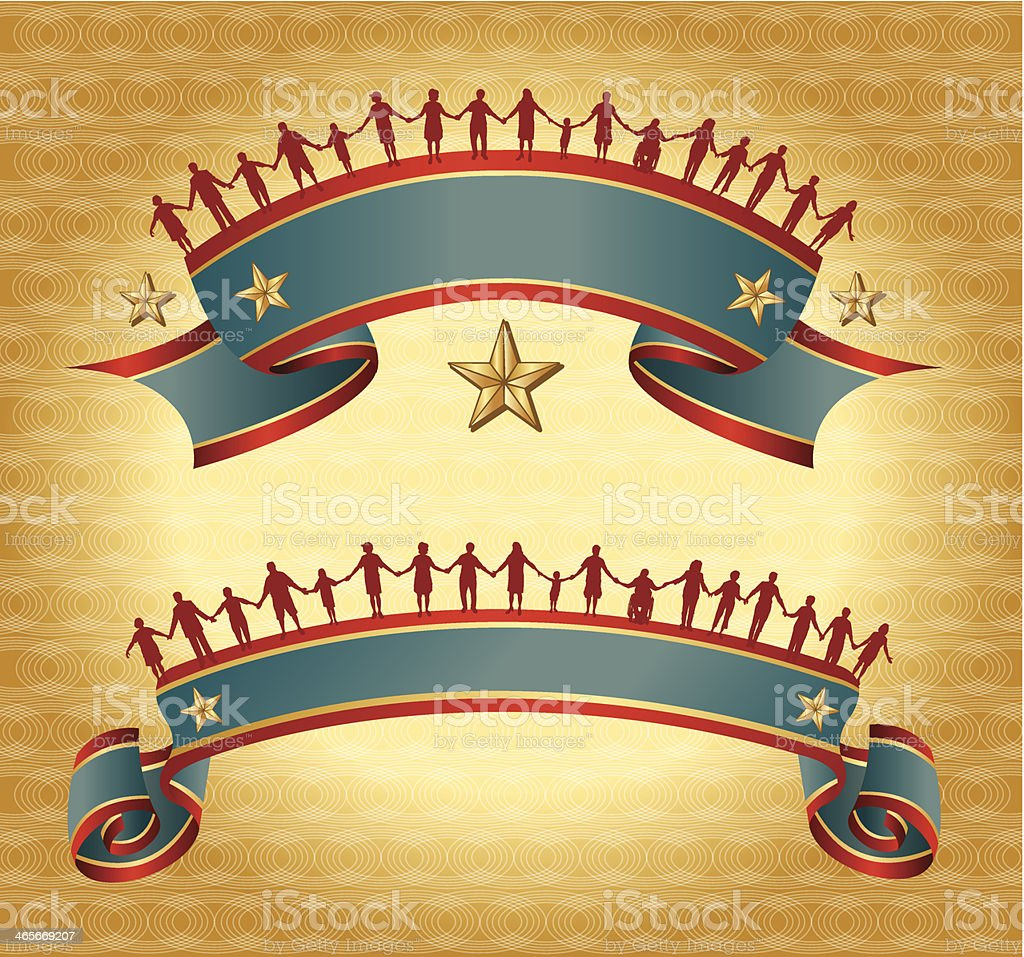 Holding Hands - Patriotic Banners royalty-free holding hands patriotic banners stock vector art & more images of adult