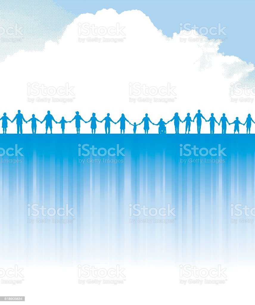 Holding Hands - Teamwork Success Background vector art illustration