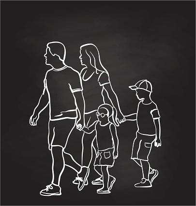 Holding Hands To Cross Chalkboard