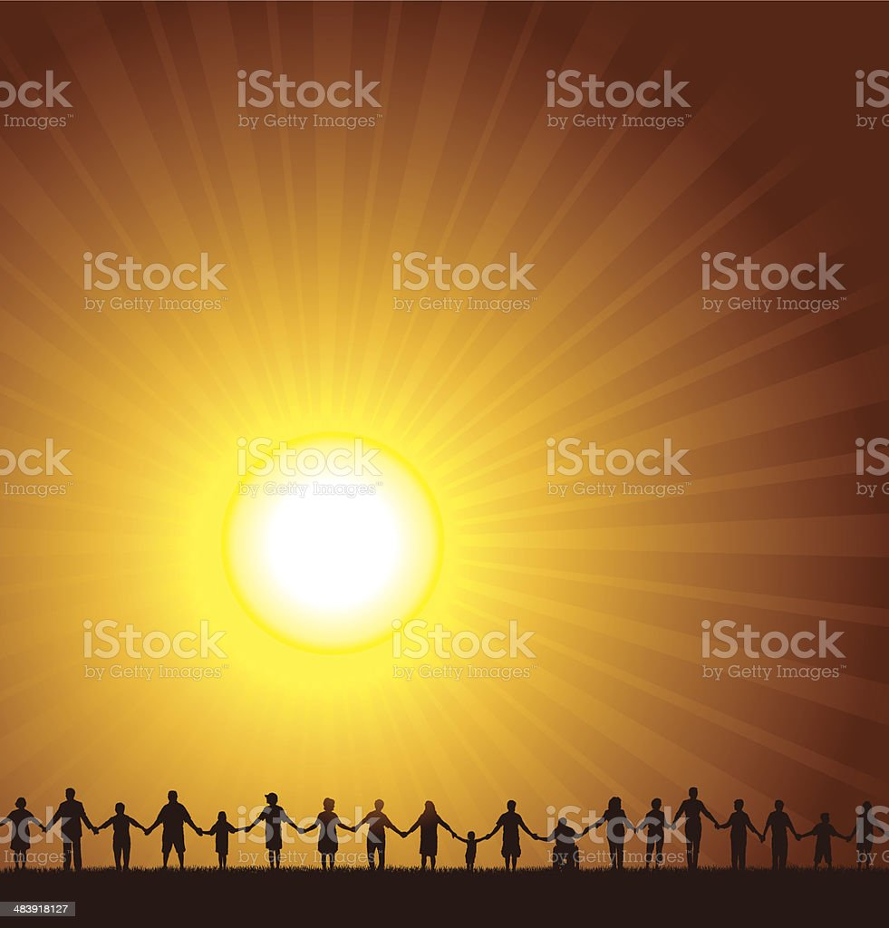 Holding Hands - United Community Sun Burst Background royalty-free stock vector art