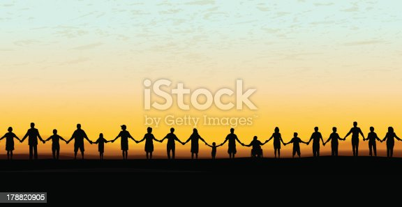 "Tight graphic silhouette background of a line of people holding hands. Holding Hands - United Community Sunset Background. Check out my ""Holding Hands"" light box for more."