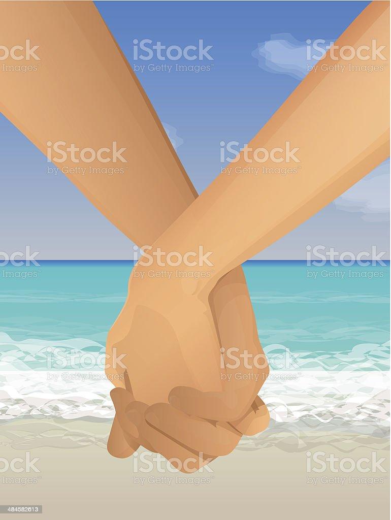 Holding Hands vector art illustration