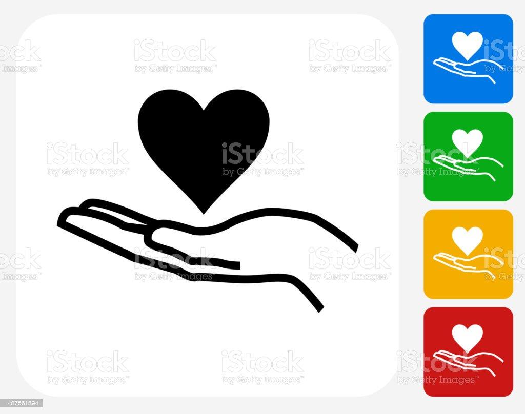 Holding Heart Icon Flat Graphic Design vector art illustration