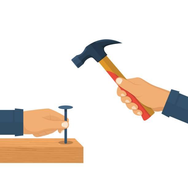 halten in der hand, hammer und nagel - nagelplatte stock-grafiken, -clipart, -cartoons und -symbole