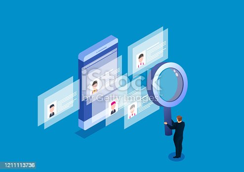 istock Holding magnifying glass searching human resources resume 1211113736