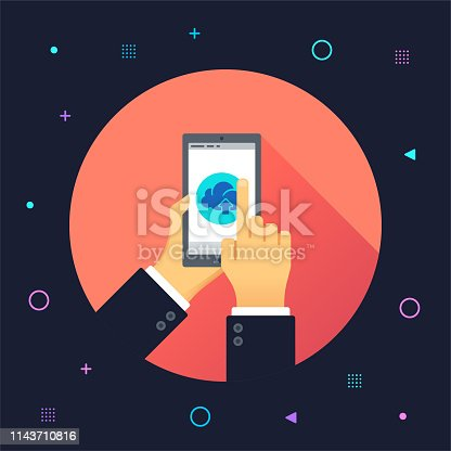 Hand holding smartphone and finger touch on cloud services screen illustrated on colorful background. Can be used for web banners and infographic design.
