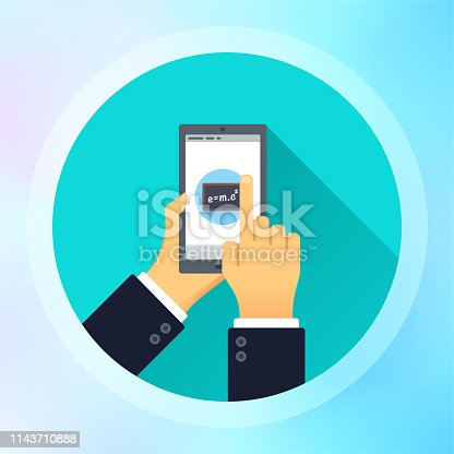 Hand holding smartphone and finger touch on online learning screen illustrated on colorful background. Can be used for web banners and infographic design.