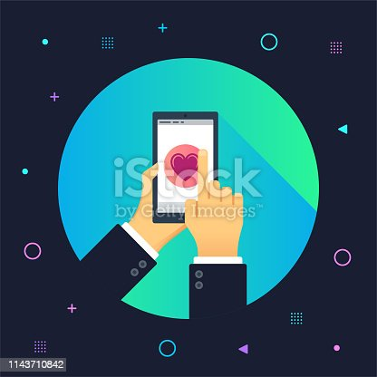 Hand holding smartphone and finger touch on social media screen illustrated on colorful background. Can be used for web banners and infographic design.