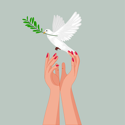 Holding peace dove with olive branch in her slender hands .