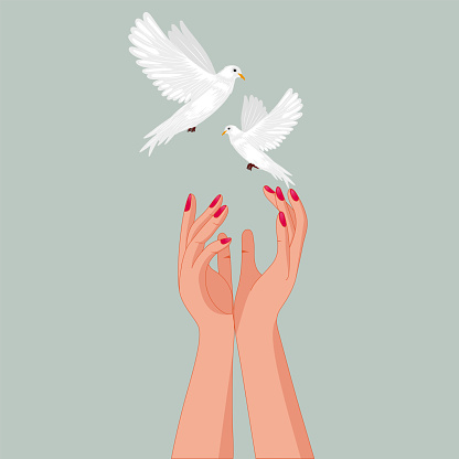 Holding peace doves in her slender hands .