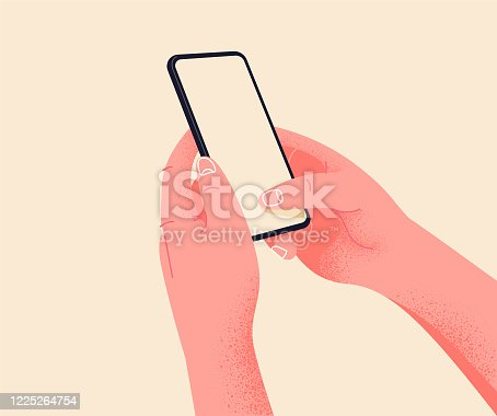 istock Holding phone in two hands. Empty screen, phone mockup. Editable smartphone template vector illustration on isolated background. Application on touch screen device. Learning or booking online concept 1225264754
