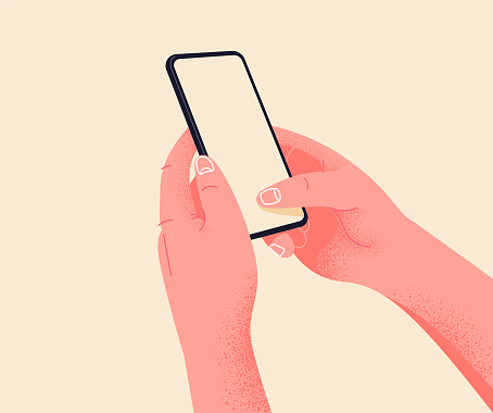 Holding phone in two hands. Empty screen, phone mockup. Editable smartphone template vector illustration on isolated background. Application on touch screen device. Learning or booking online concept