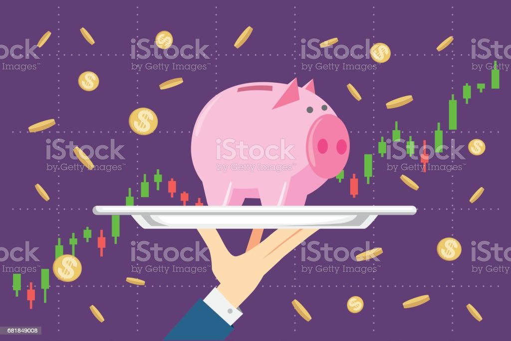 Holding piggy bank in silver tray on stock chart background. vector art illustration