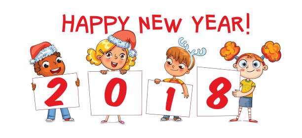 holding poster new year 2018 funny cartoon character vector art illustration