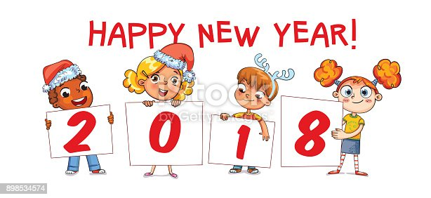 holding poster new year 2018 funny cartoon character stock vector art more images of 2018 898534574 istock