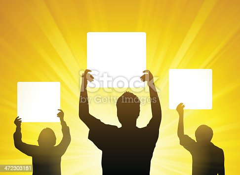 People silhouetted holding signs with copy space. EPS 10 file. Transparency used on highlight elements.