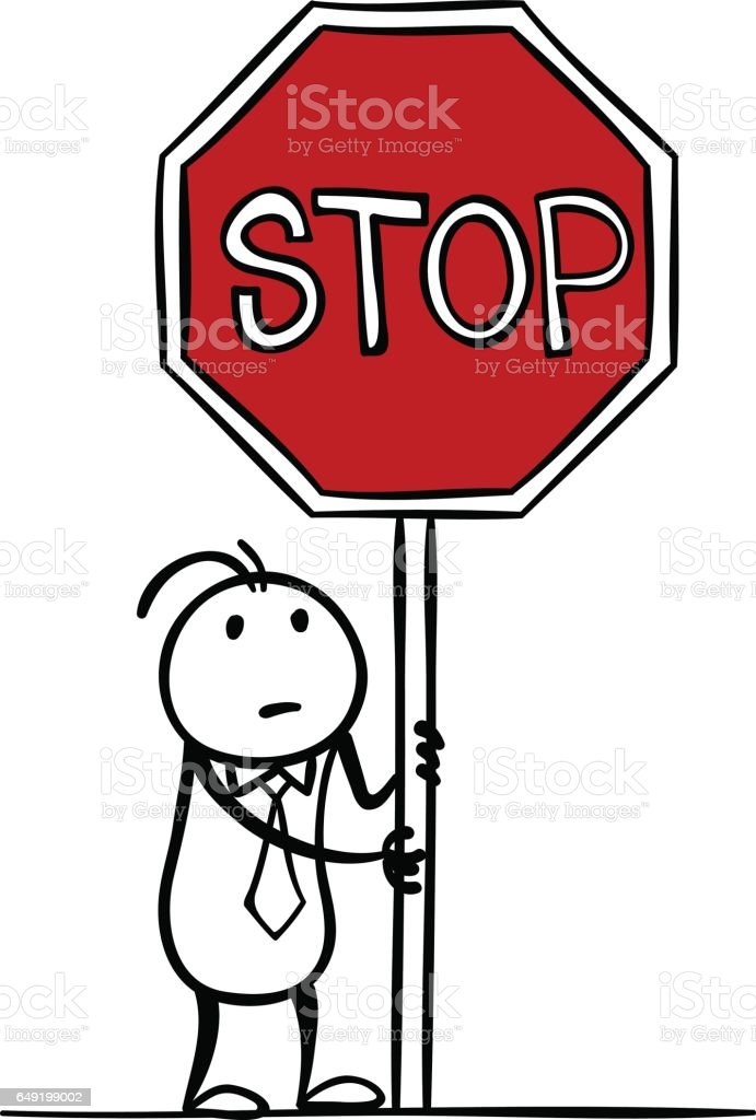 royalty free cartoon of the stop sign black and white clip art rh istockphoto com stop sign cartoon png stop sign cartoon pic