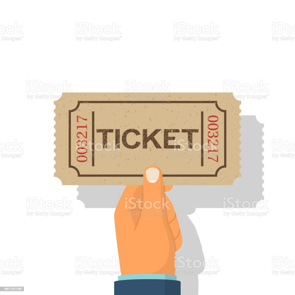 Holds tickets in hand, isolated on white background