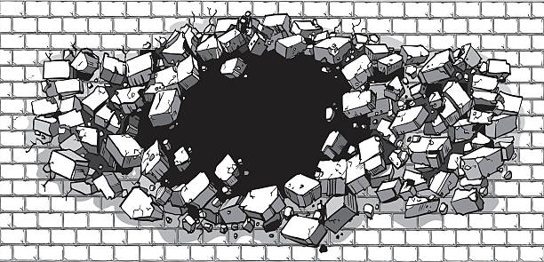 Hole Breaking Through Wide Brick Wall Vector cartoon clip art illustration of a hole in a wide brick or cinder block wall breaking or exploding out into rubble or debris. Ideal as a customizable background graphic element. Vector file is layered for easy customization. demolished stock illustrations