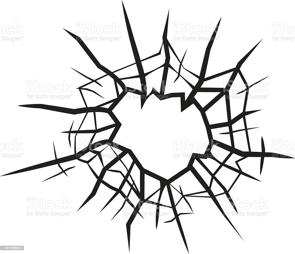 hole in glass cracked glass black and white vector stock vector art rh istockphoto com broken glass victorious ukulele chords broken glass vector art