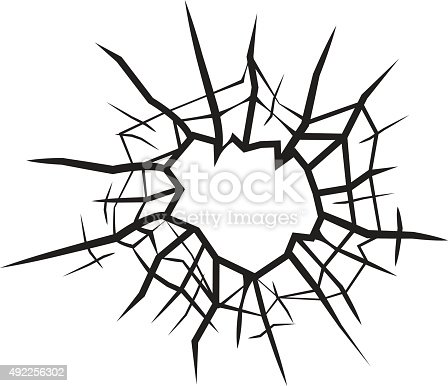 Hole In Glass Cracked Glass Black And White Vector Stock