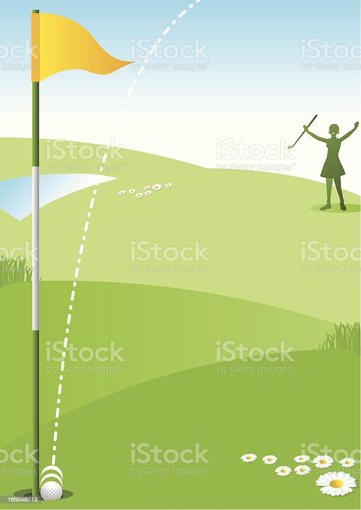 Hole in One Lady Golfer royalty-free stock vector art